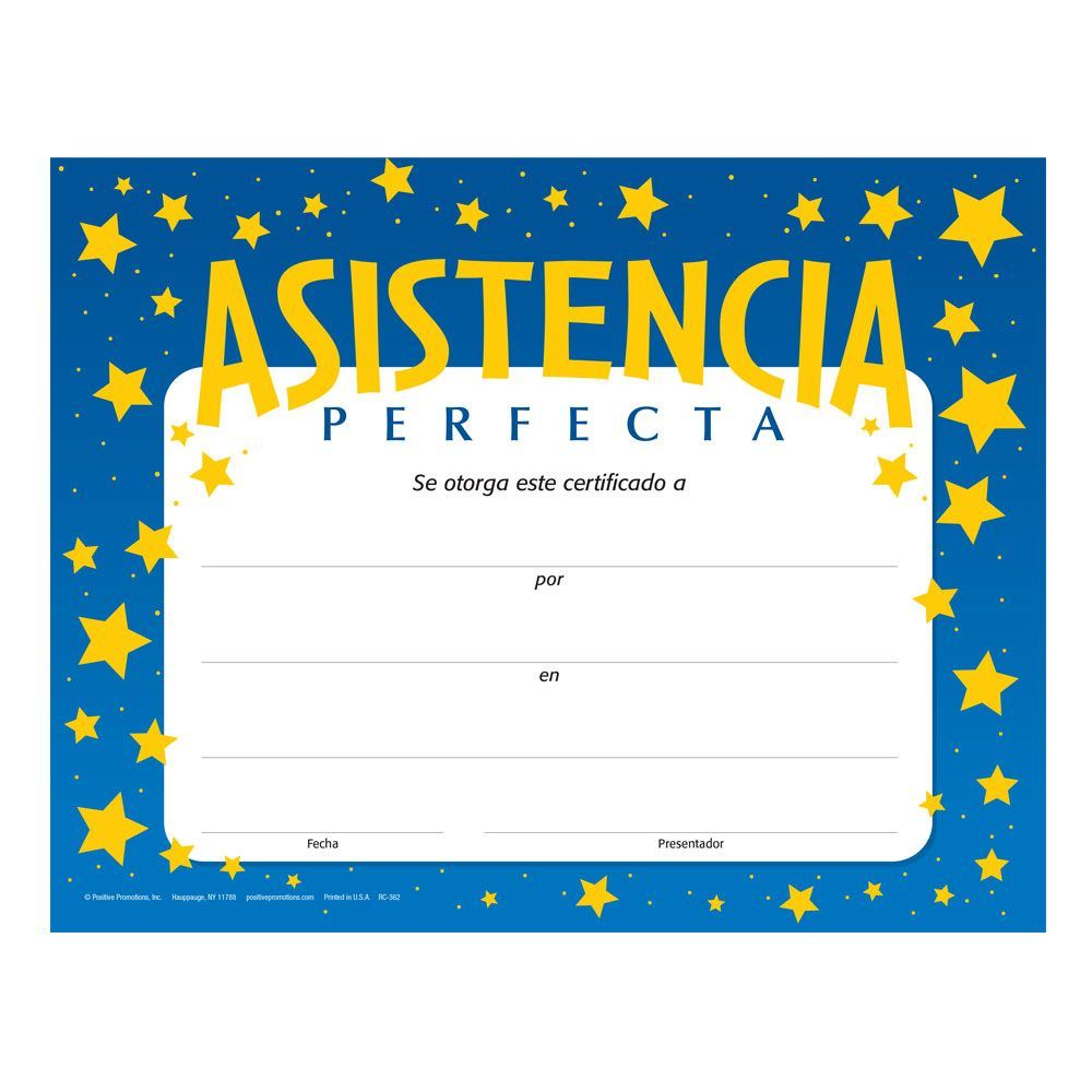 Perfect Attendance Gold Foil-Stamped Certificate (Spanish ...