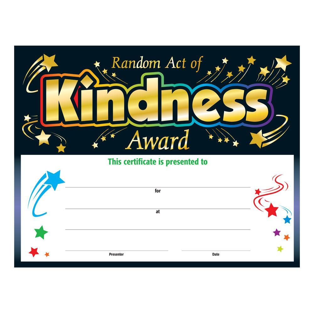 Random acts of kindness gold foil stamped certificate alramifo Choice Image