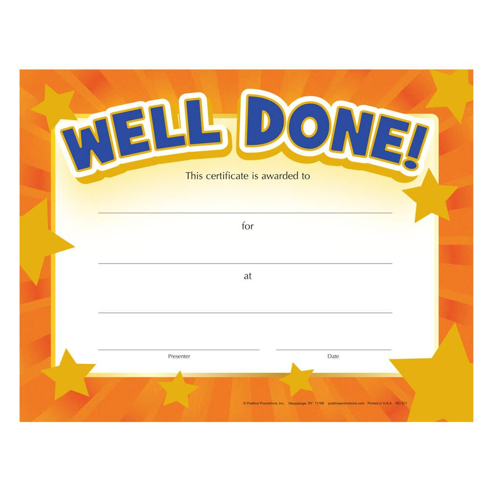Well Done! Gold Foil-Stamped Certificates - Pack of 25