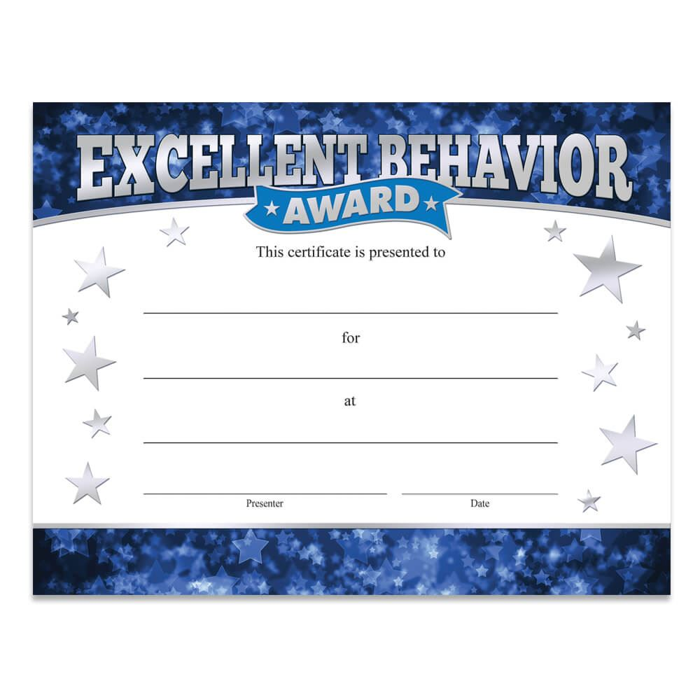excellent behavior award gold foil