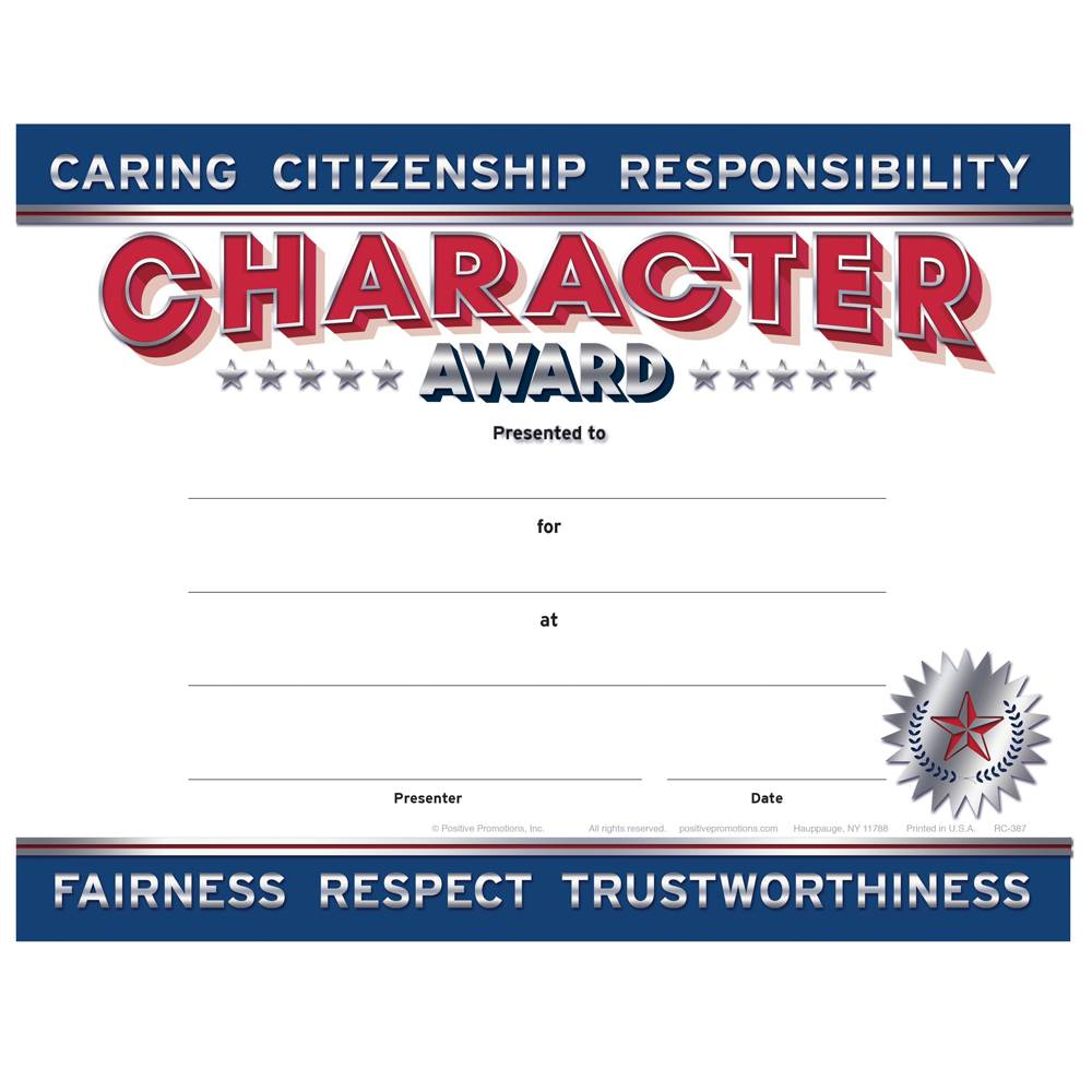Good Character Award Certificates - Pack of 25