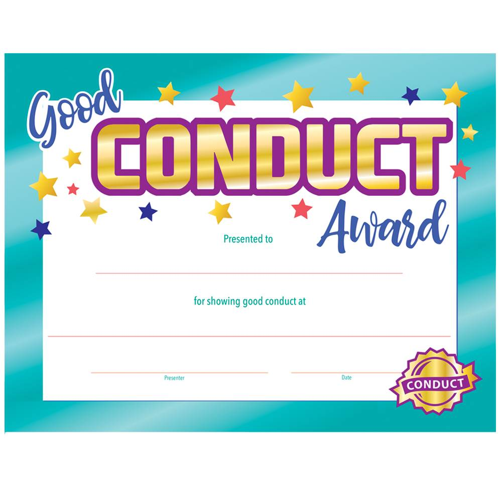 Good Conduct Gold Foil-Stamped Award Certificates - Pack of 25