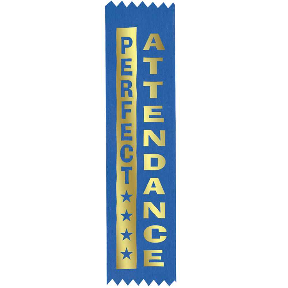 Perfect Attendance Gold Foil-Stamped Satin Award Ribbons - Pack of 25