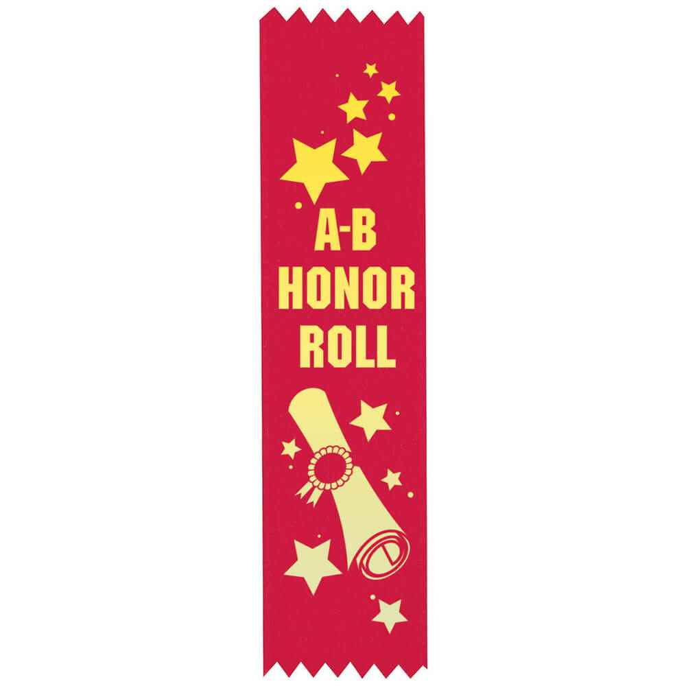 A-B Honor Roll Gold Foil-Stamped Satin Ribbons - Pack of 25