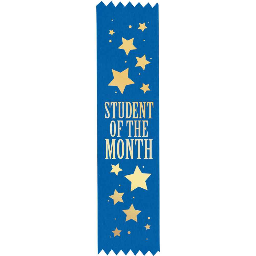 Student Of The Month Gold Foil-Stamped Satin Ribbons - Pack of 25