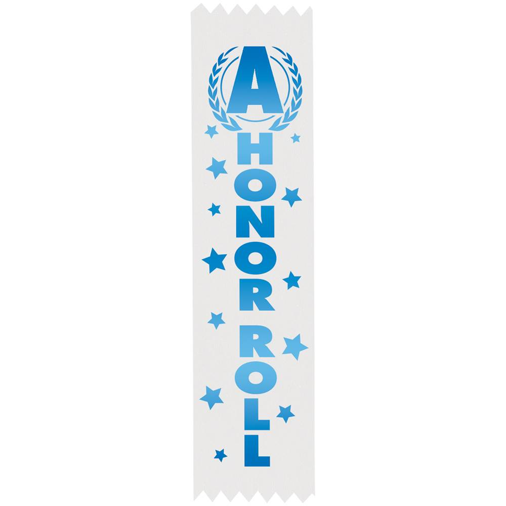 A Honor Roll Blue Foil-Stamped Satin Ribbons