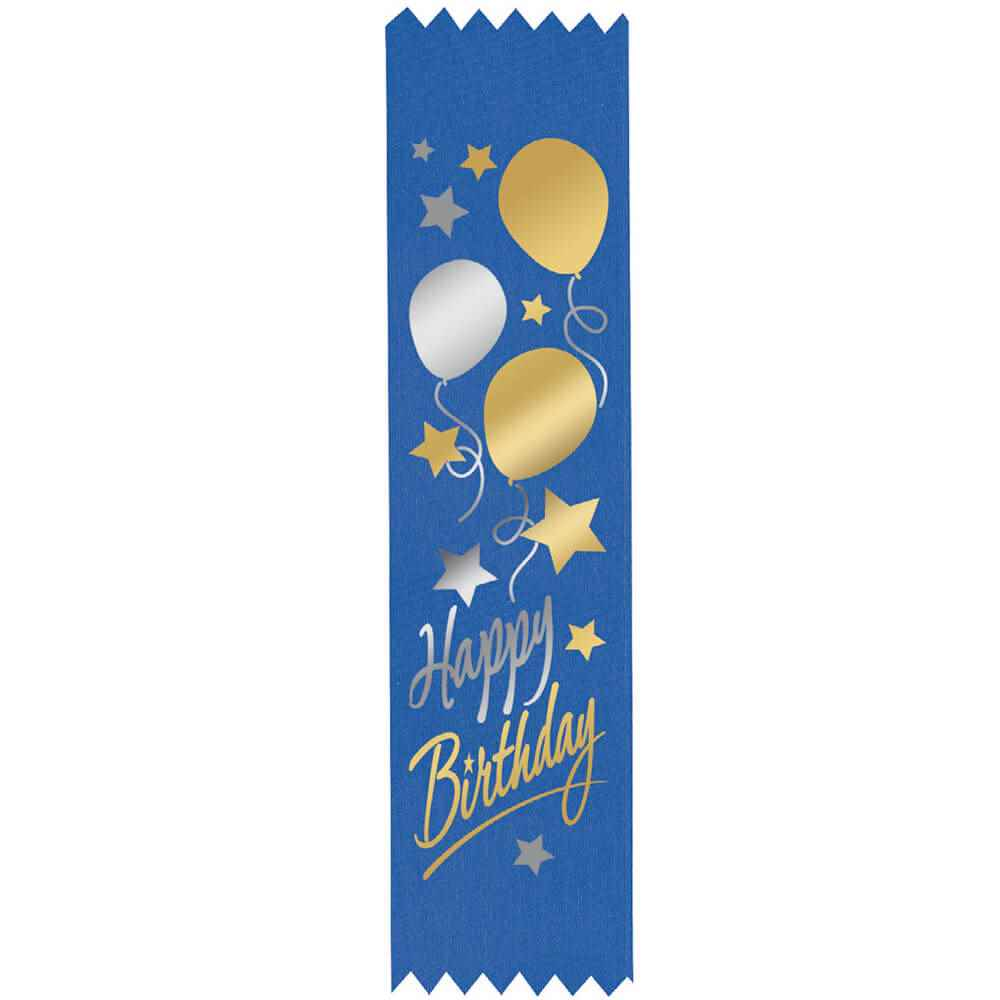 Happy Birthday Balloons Design Two-Color Satin Ribbons - Pack of 25