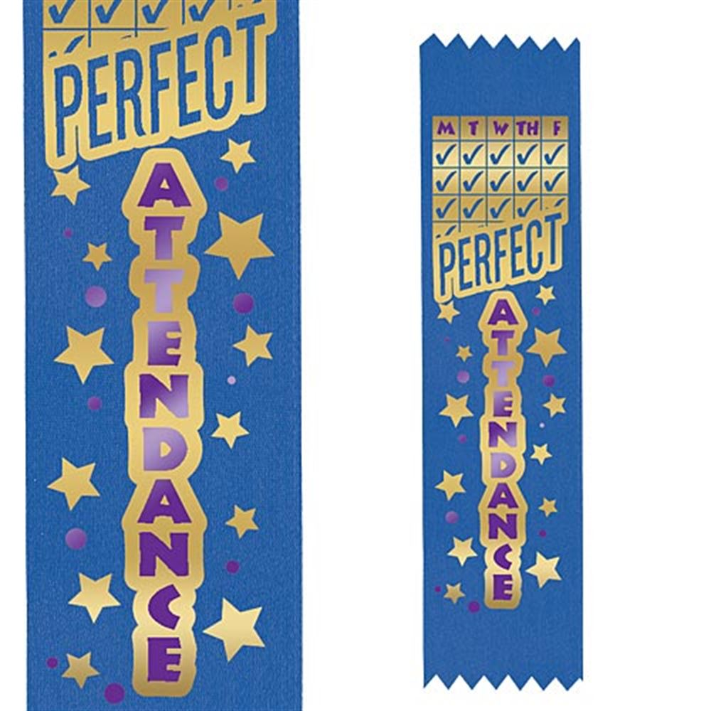 Two-Color Quarterly Perfect Attendance Award Ribbon (Blue)