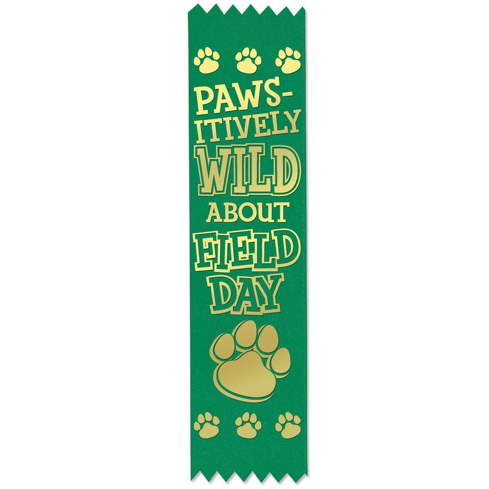 Paws-itively Wild About Field Day Gold Foil-Stamped Green Participant Ribbons - Pack of 100