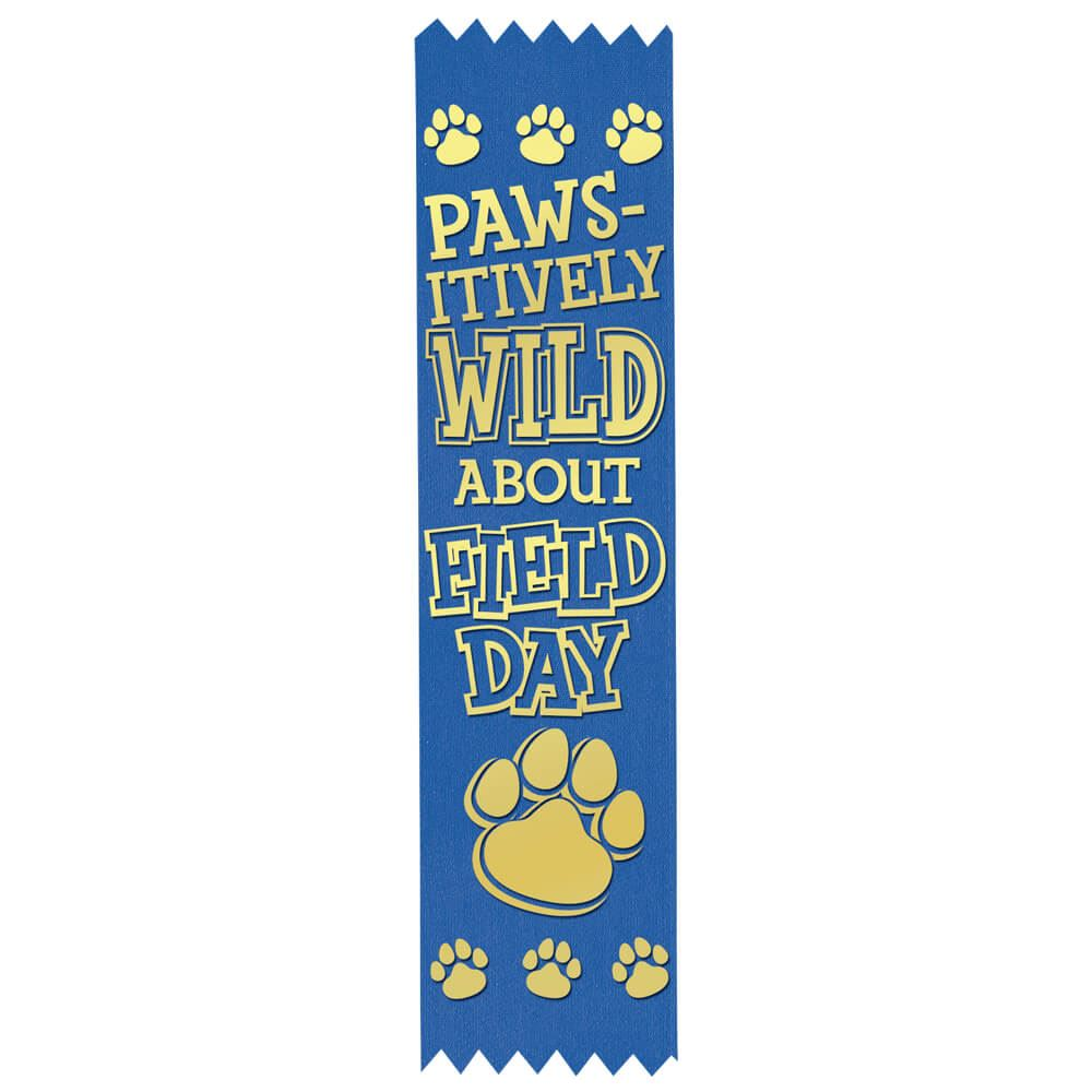 Paws-itively Wild About Field Day Gold Foil-Stamped Participant Ribbons - Pack of 100
