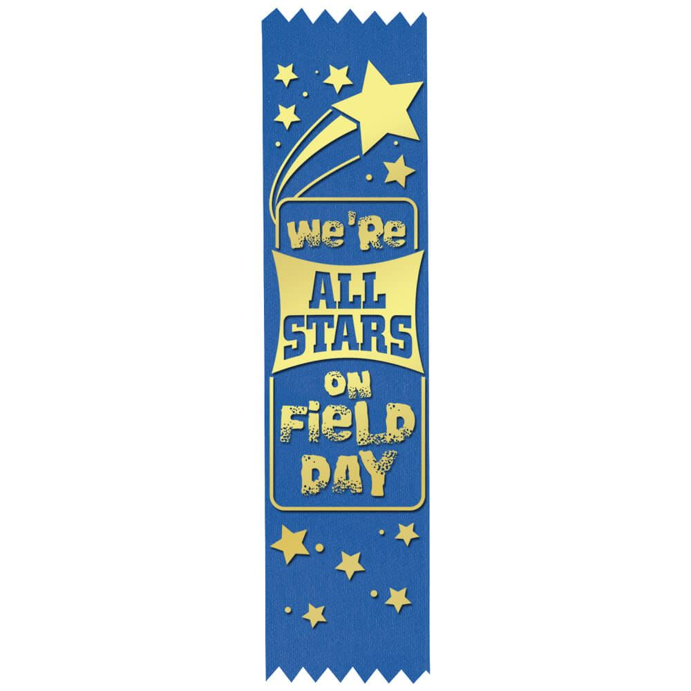 We're All Stars On Field Day Gold Foil-Stamped Participant Ribbons - Pack of 100