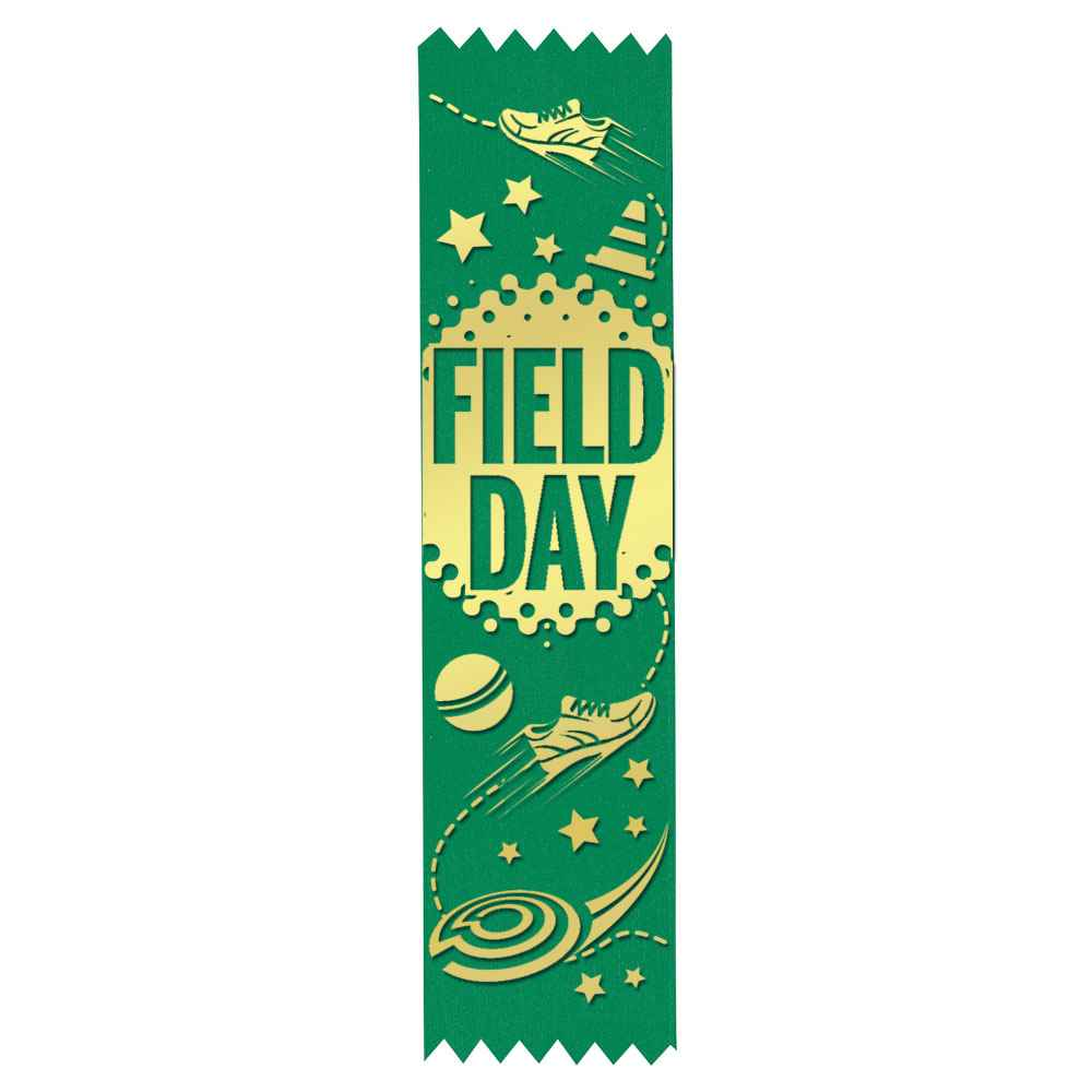 Field Day Gold Foil-Stamped Green Participant Ribbons - Sneakers Design - Pack of 100