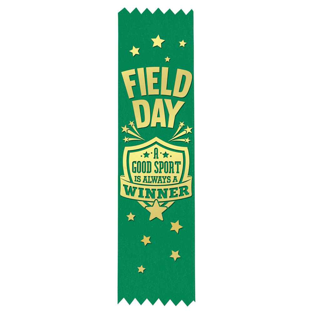 Field Day: A Good Sport Is Always A Winner Gold Foil-Stamped Green Participant Ribbons - Pack of 100