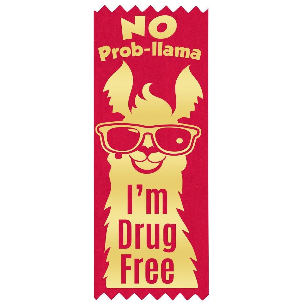 No Prob-llama I'm Drug Free Gold Foil-Stamped Ribbon - 100 Per Pack