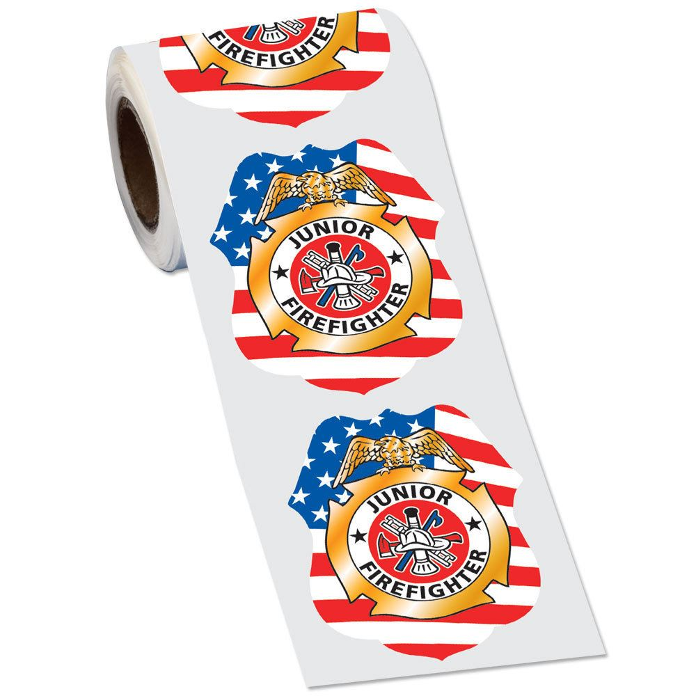 Patriotic Junior Firefighter Badge Stickers-On-A-Roll� - 100 Stickers Per Roll