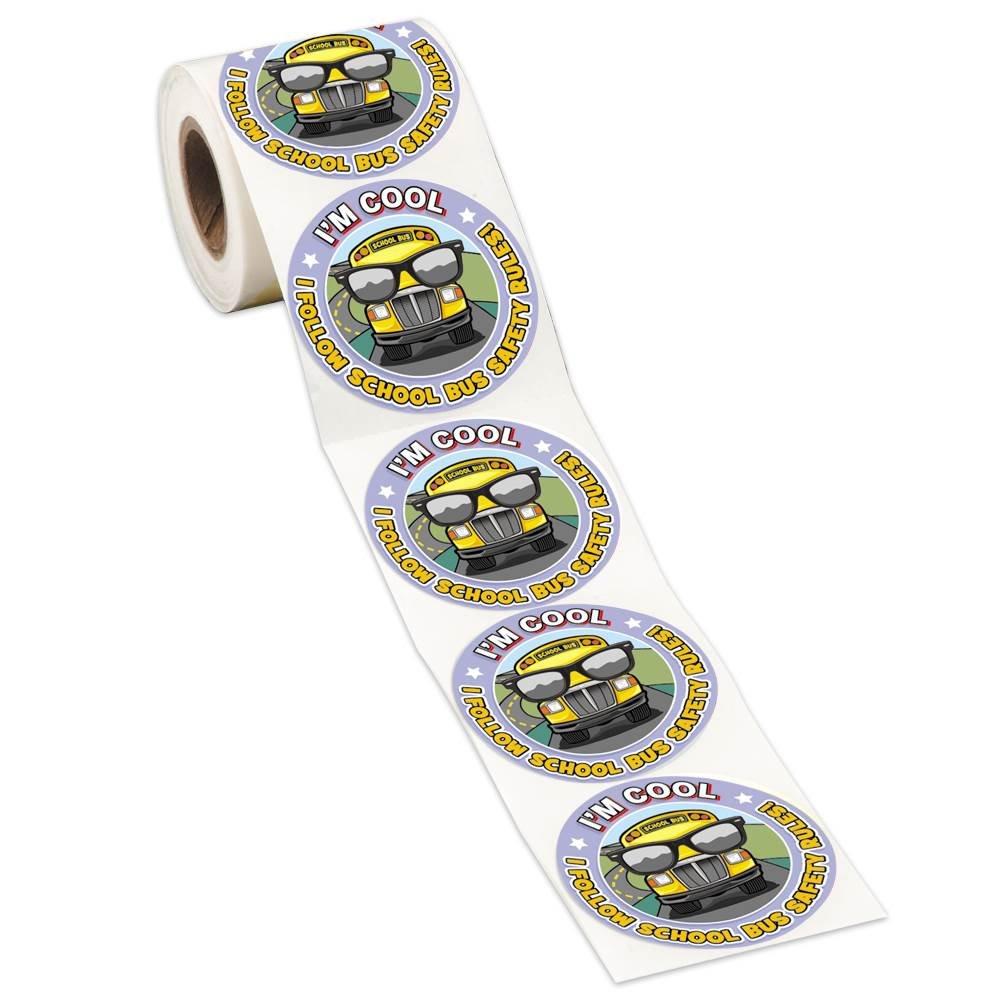 I'm Cool, I Follow School Bus Safety Rules Sticker Roll - 200 Per Roll