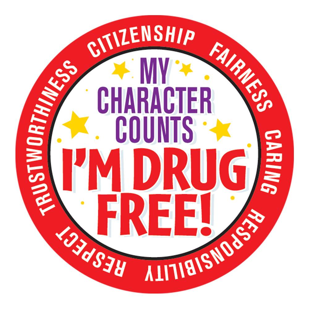 My Character Counts I'm Drug Free! Theme Day Stickers - Roll of 200