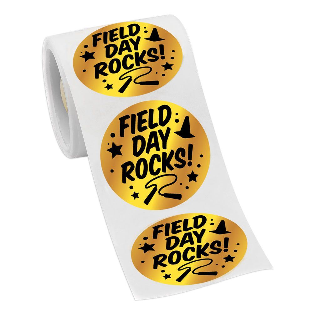 Field day rocks gold foil stickers on a roll