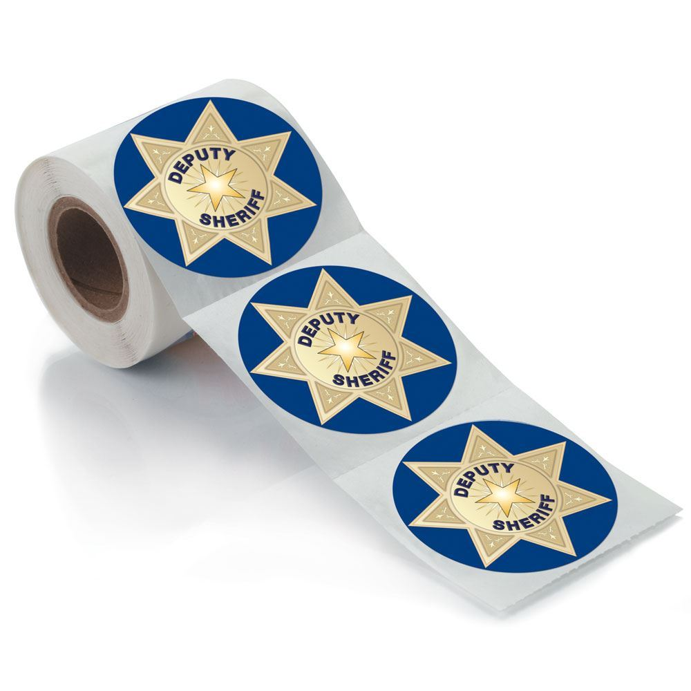Deputy Sheriff Badge Stickers-On-A-Roll