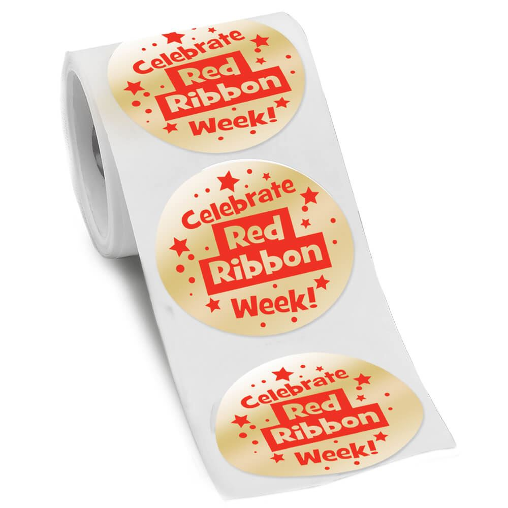 Celebrate Red Ribbon Week Gold Foil Ribbon Stickers
