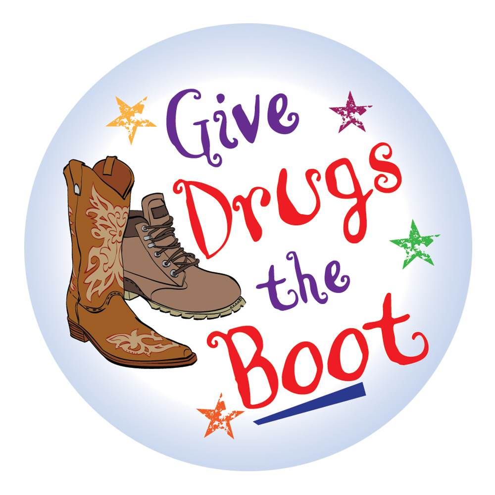 Give Drugs The Boot Theme Day Stickers - Roll of 200