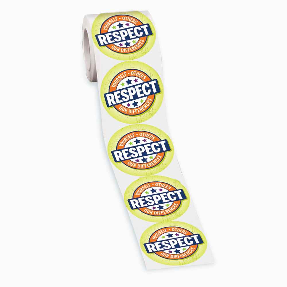 Respect Yourself, Others, Our Differences Stickers - Roll of 200