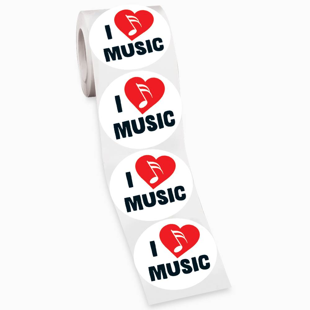 I Heart Music Sticker Roll