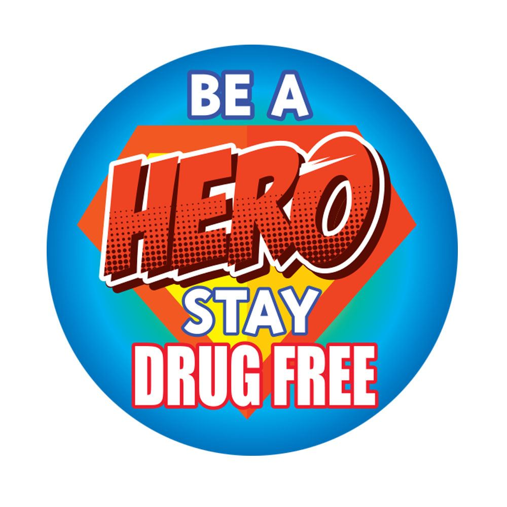 Be A Hero Stay Drug Free�Theme Day Stickers - Roll of 200