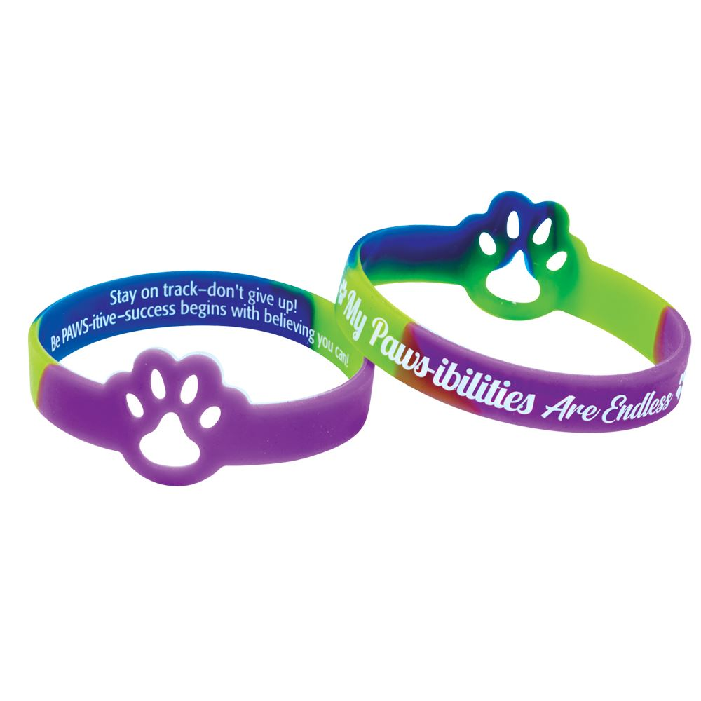 My PAWS-ibilities Are Endless  Die-Cut Paw 2-Sided Silicone Bracelets - Pack of 10