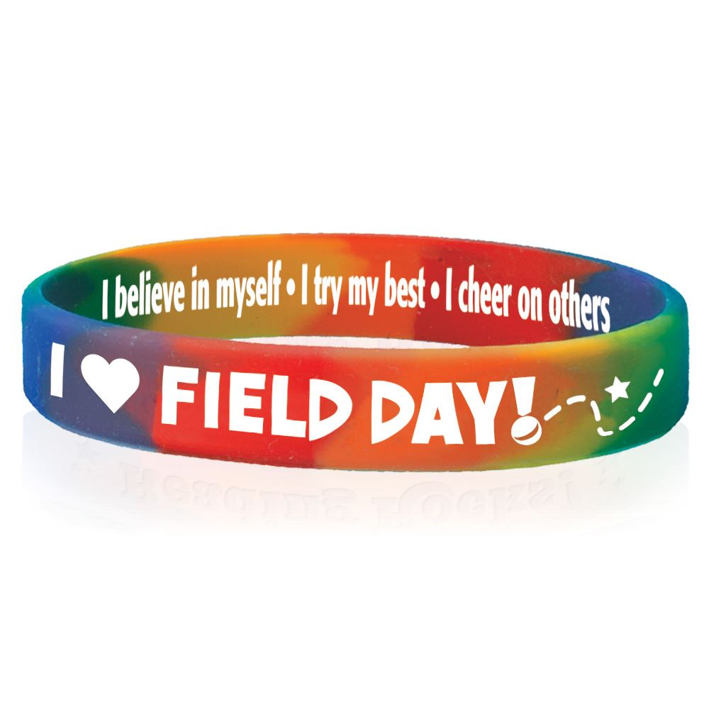 I Heart Field Day Day 2-Sided Silicone Bracelets - Pack of 10