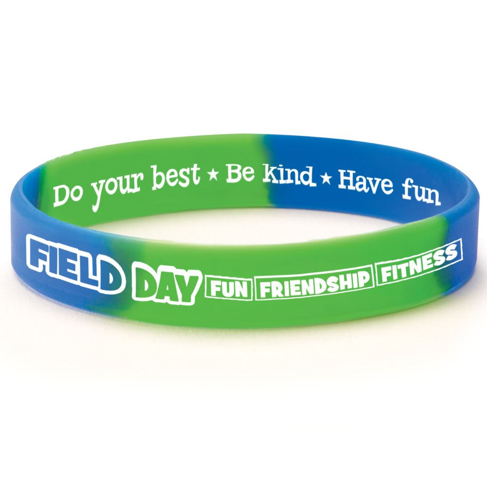 Field Day Fun, Friendship, Fitness 2-Sided Silicone Bracelets - Pack of 10