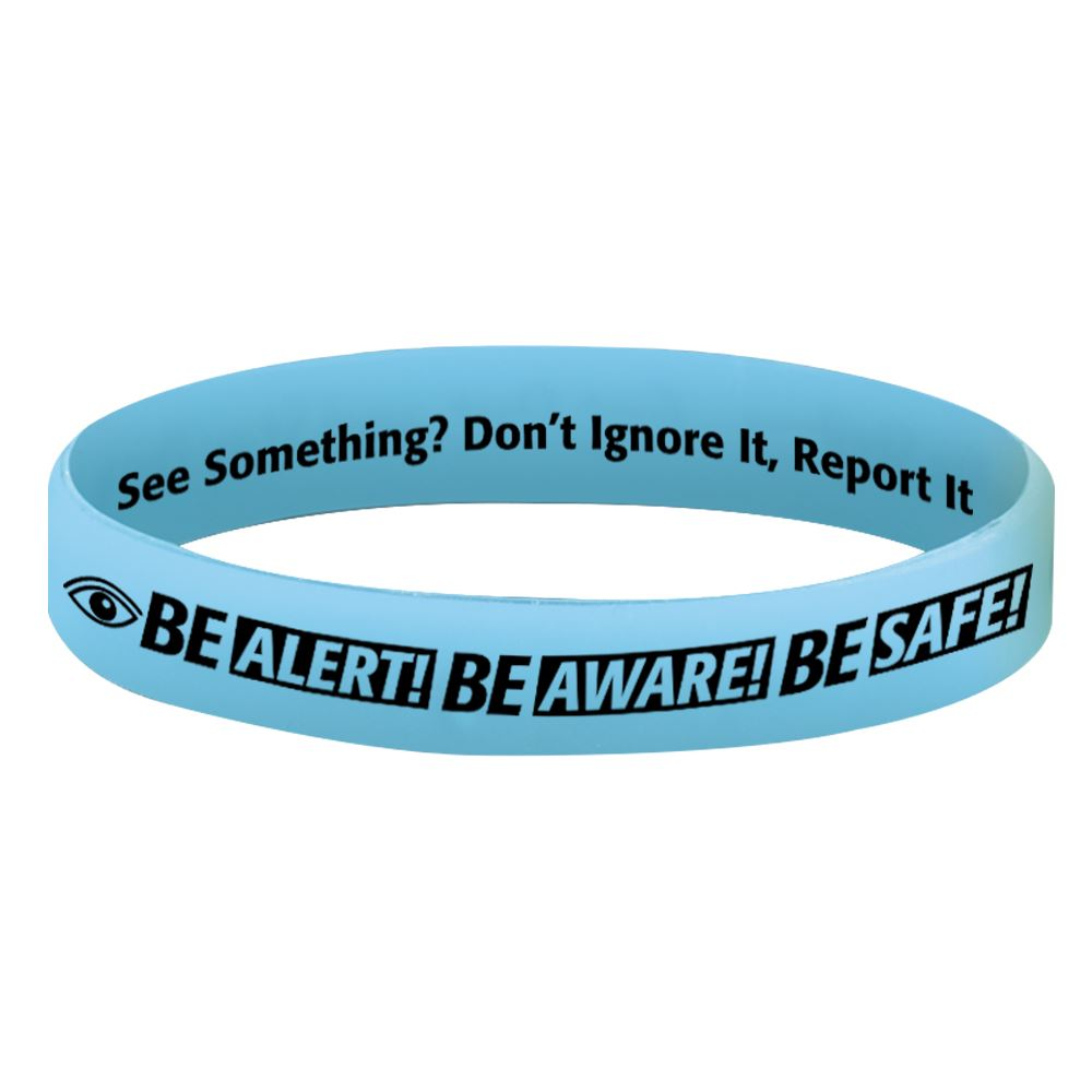 Be Alert Be Aware Be Safe Glow-In-The-Dark 2-Sided Silicone Awareness Bracelets
