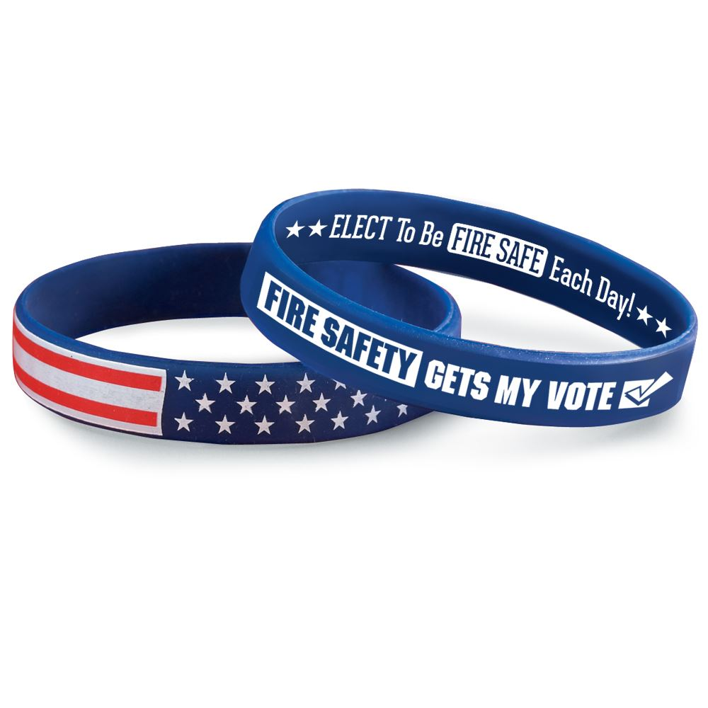 Fire Safety Gets My Vote 2-Sided Silicone Bracelets - Pack of 25