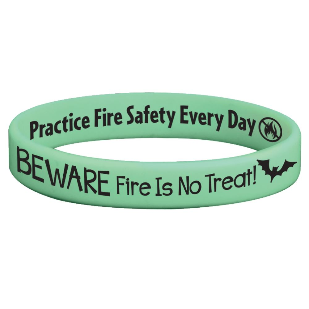 Beware Fire Is No Treat Glow-In-The-Dark Silicone Bracelet - Pack of 10