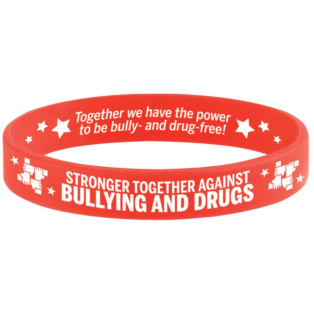 Stronger Together Against Bullying and Drugs�2-Sided Silicone Bracelets - Pack of 25
