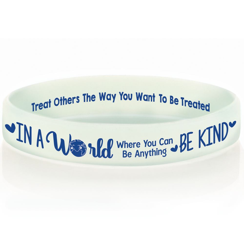In A World Where You Can Be Anything, Be Kind 2-Sided Silicone Glow Bracelet - Pack of 10