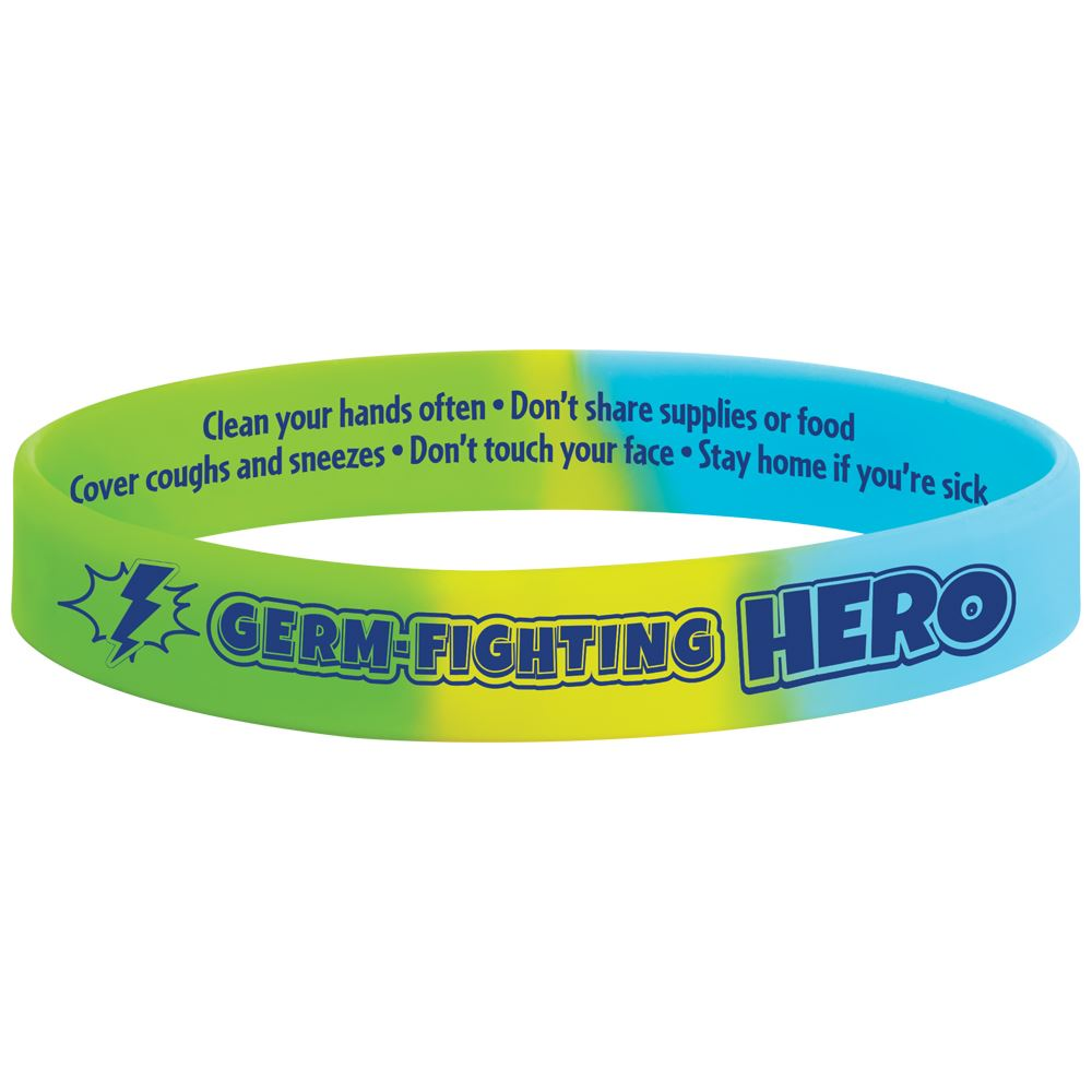 Germ-Fighting Hero 2-Sided Silicone Bracelet - Pack of 10