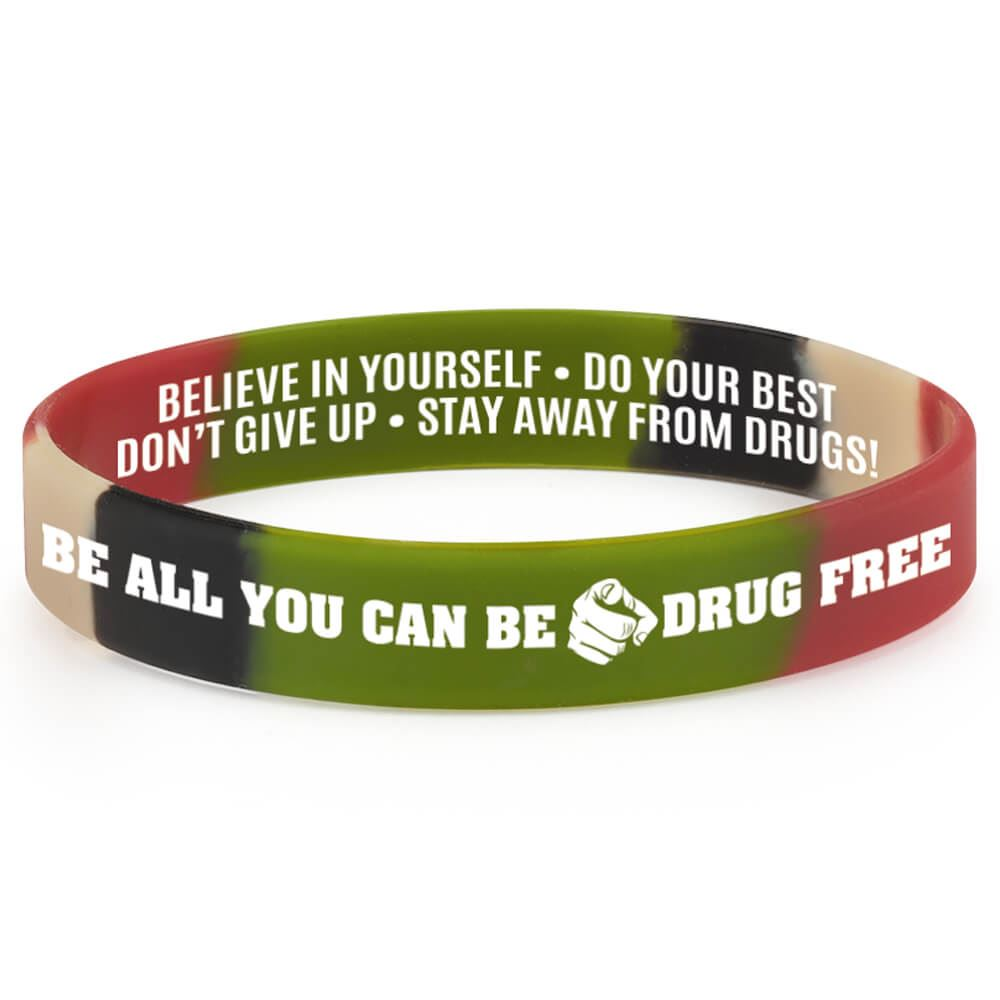 Be All You Can Be Drug Free 2-Sided Silicone Awareness Bracelet