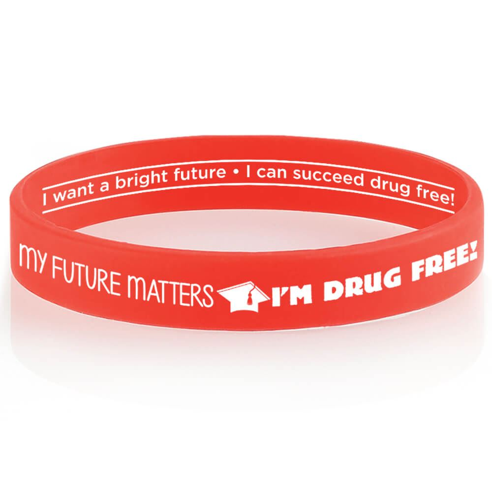 My Future Matters, I'm Drug Free! 2-Sided Silicone Bracelets - Pack of 25