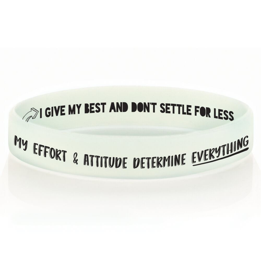 My Effort & Attitude Determine Everything Positive 2-Sided Silicone Bracelets - Pack of 10