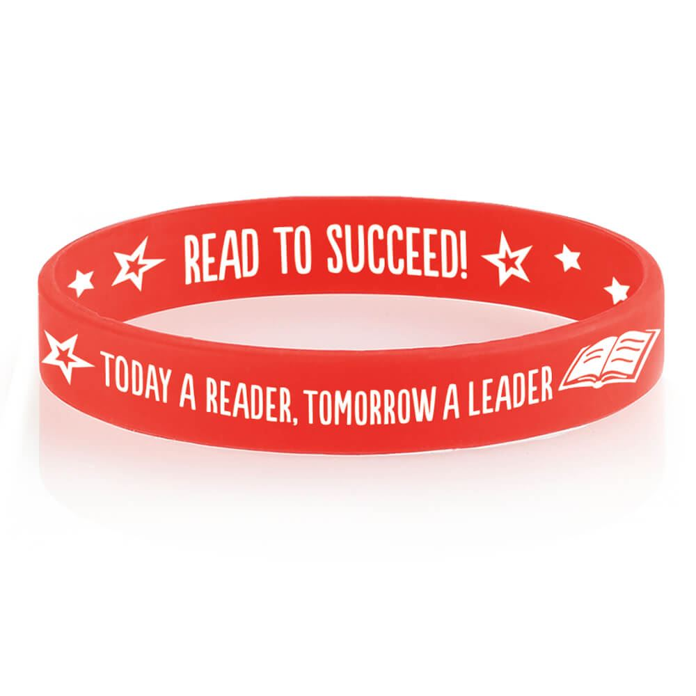 Today A Reader, Tomorrow A Leader 2-Sided Silicone Bracelets - Pack of 10