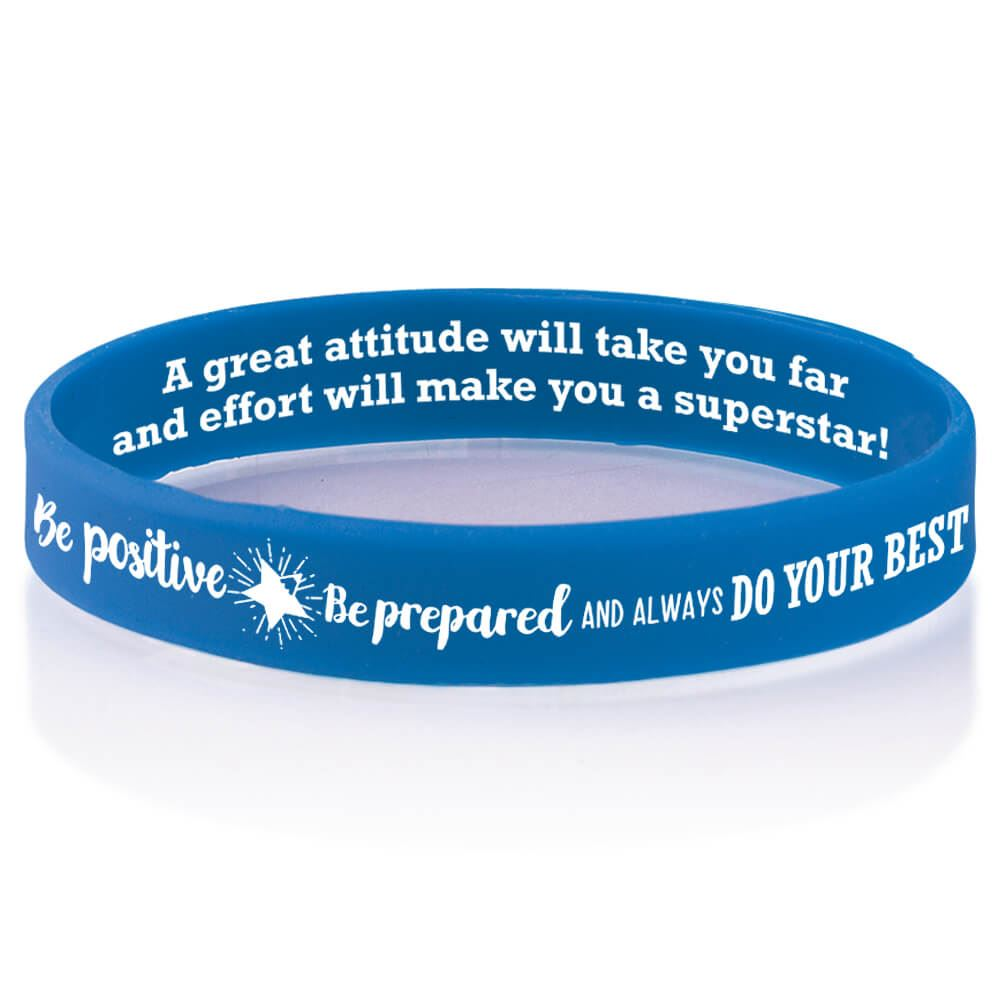 Be Positive, Be Prepared, And Always Do Your Best 2-Sided Silicone Bracelets - Pack of 10