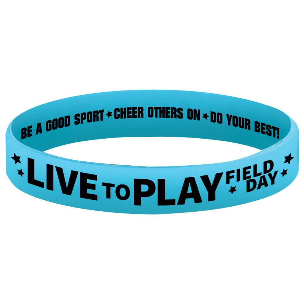 Live To Play Field Day Glow Blue 2-Sided Silicone Bracelets - Pack of 10