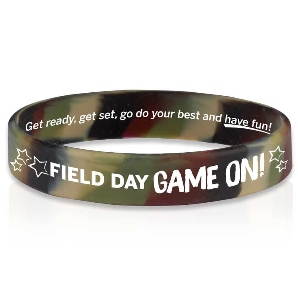 Field Day Game On! Camo 2-Sided Silicone Bracelets - Pack of 10