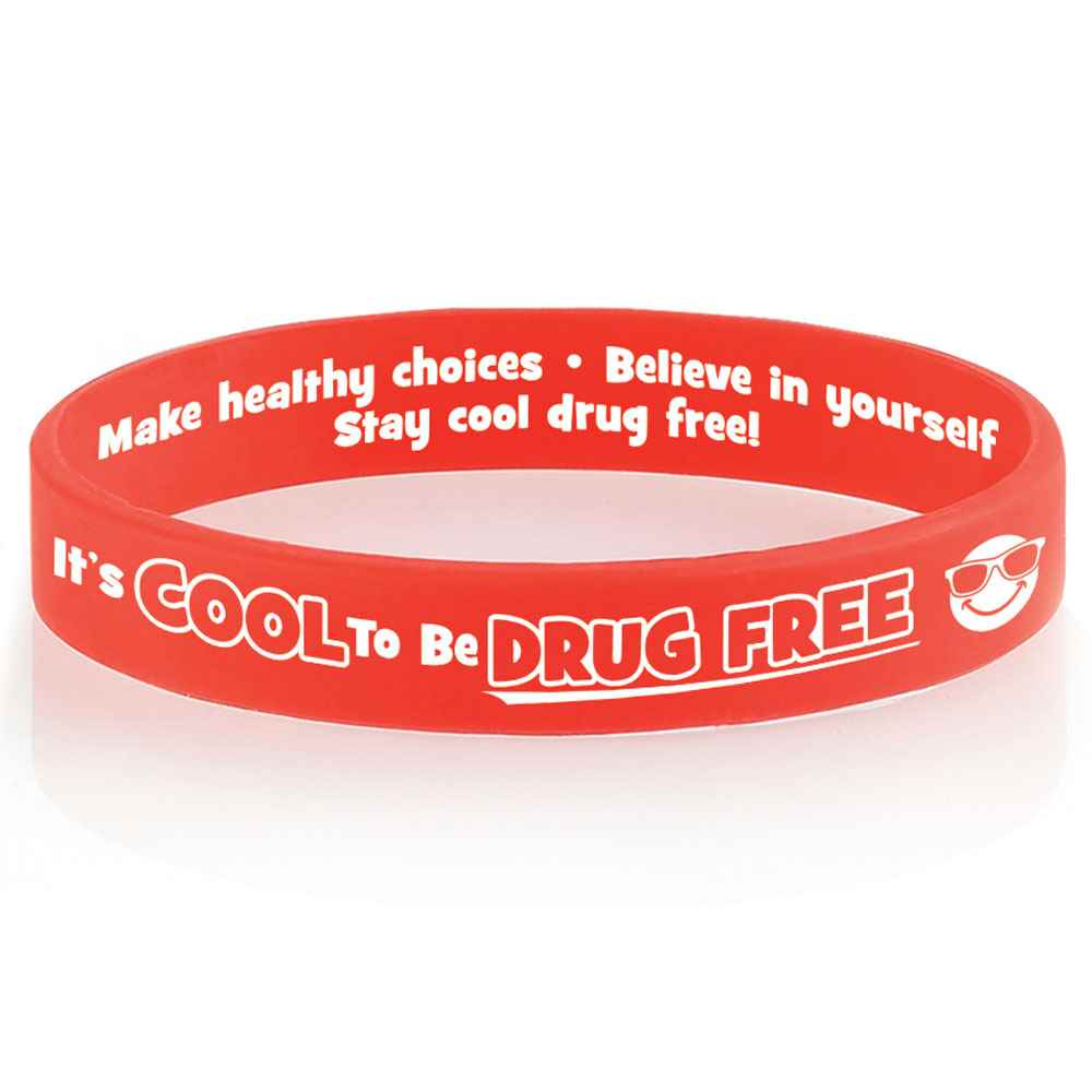 It's Cool To Be Drug Free 2-Sided Silicone Bracelets - Pack of 25