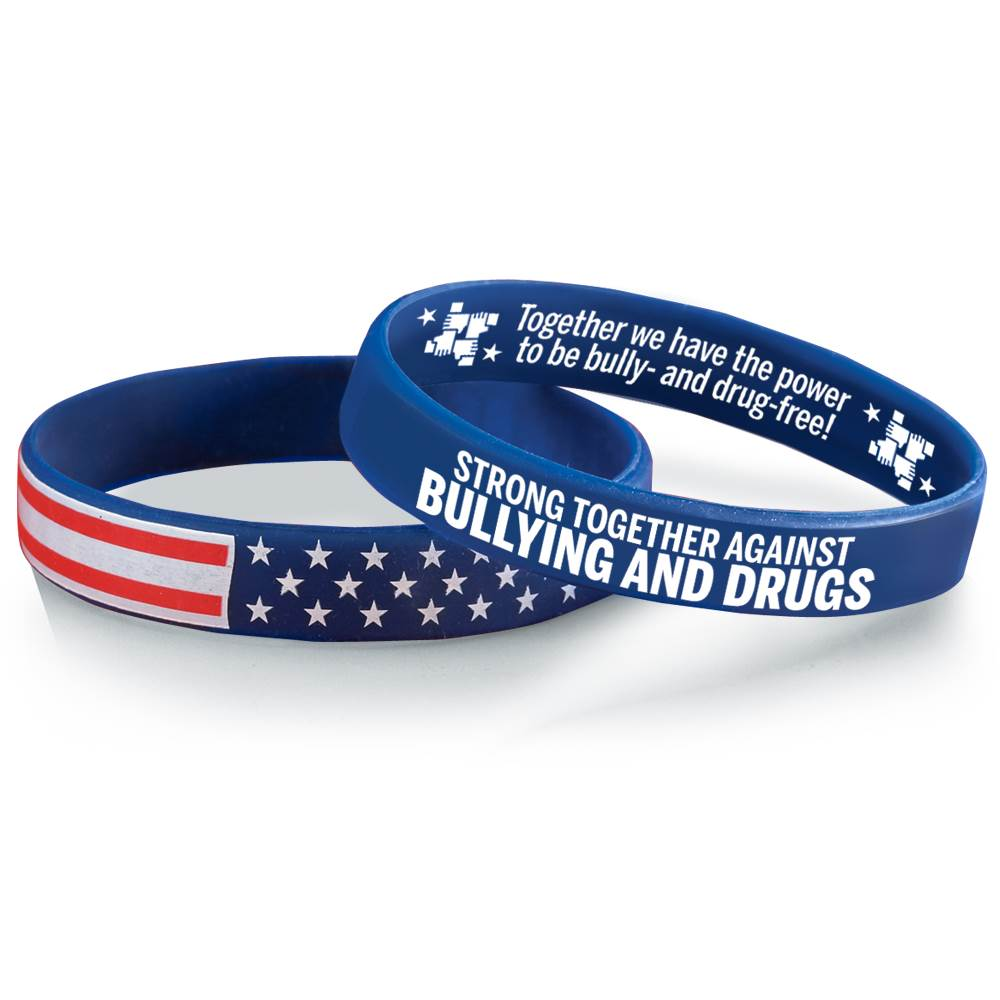 Strong Together Against Bullying And Drugs 2-Sided Silicone Bracelet