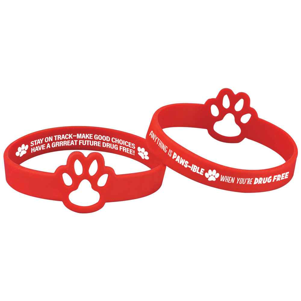 Anything Is PAWS-IBLE When You're Drug Free Die-Cut 2-Sided Silicone Bracelet - Pack of 25