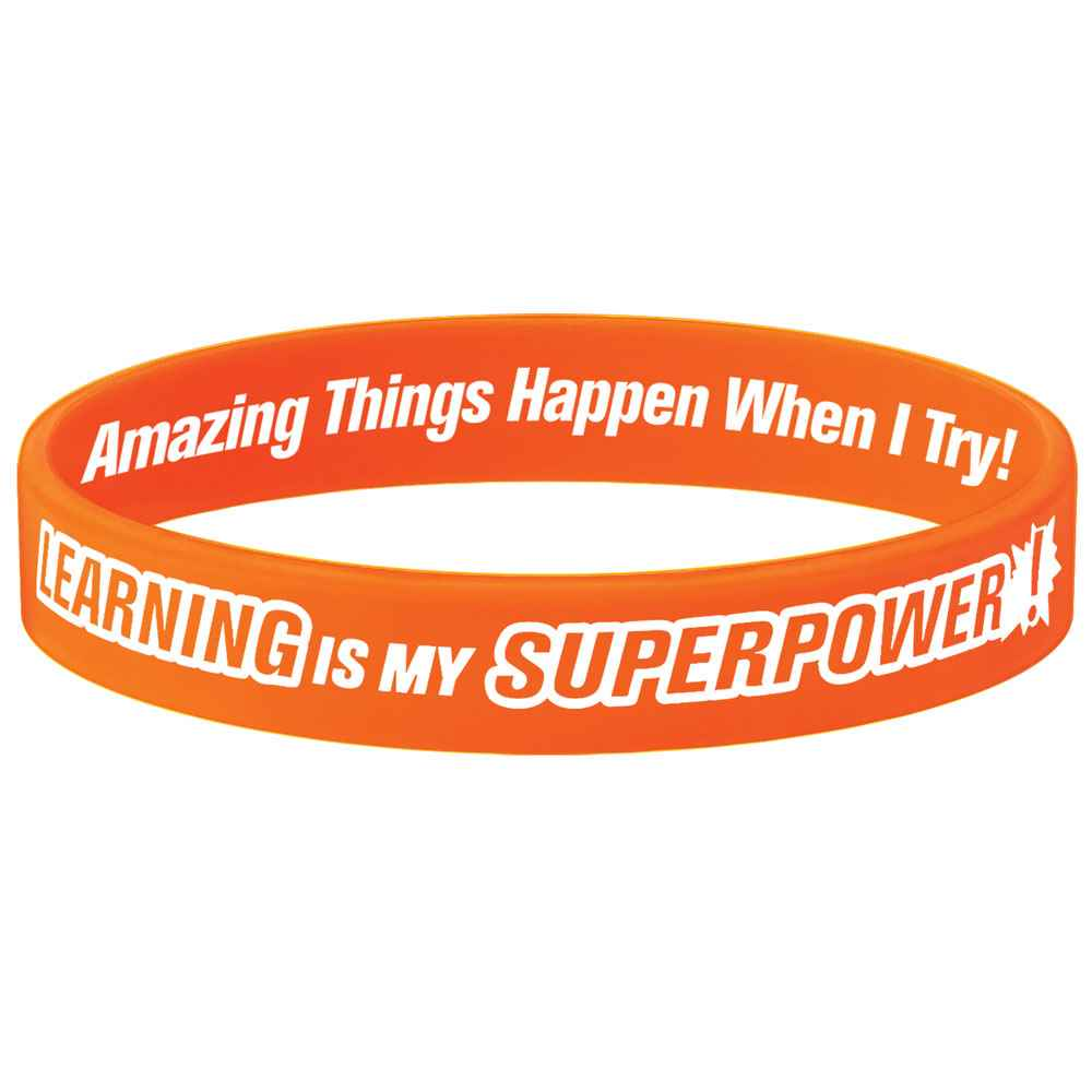 Learning Is My Superpower! Neon Orange Growth Mindset 2-Sided Silicone Bracelets - Pack of 10