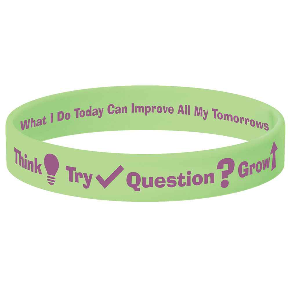 Think-Try-Question-Grow Neon Green Growth Mindset 2-Sided Silicone Bracelets - Pack of 10