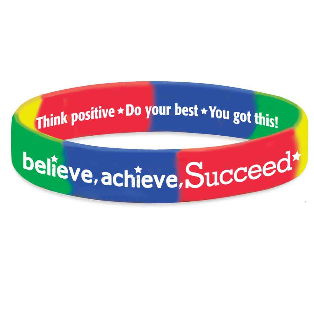 Believe, Achieve, Succeed 2-Sided Silicone Bracelets - Pack of 10